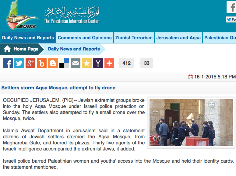 "Temple Mount tourists falsely depicted as ""settlers"" who stormed the Al-Aqsa Mosque in an article on the Palestinian Information Center website. Credit: Screenshot."