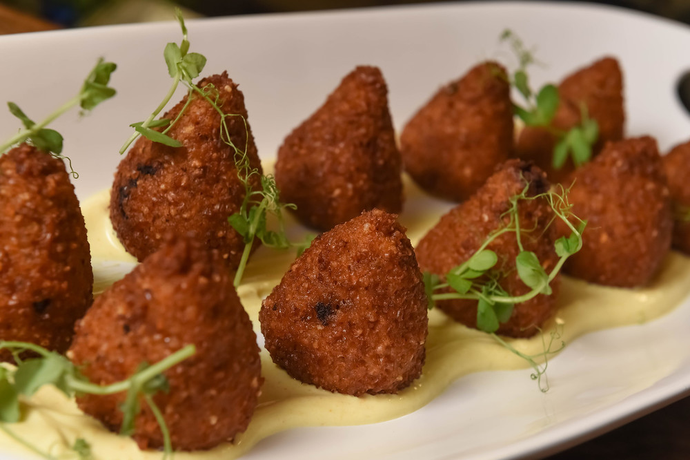 "Click photo to download. Caption: A new take on the traditional Kubbeh dish, pictured at the Jan. 14 event at New York City's Balaboosta restaurant that launched the World Jewish Heritage Organization's eBook, ""Israel's Top 100 Ethnic Restaurants."" Credit: Shahar Azran."
