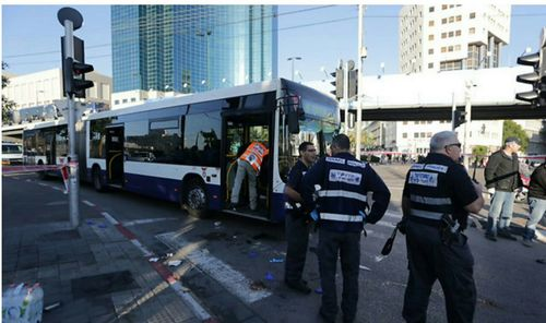 Click photo to download. Caption: The scene of Wednesday's Palestinian terrorist stabbing attack on a bus in Tel Aviv. Credit: United Hatzalah.