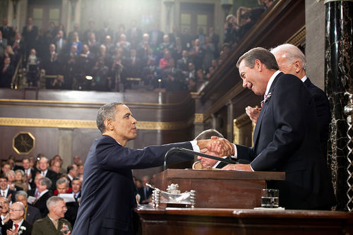 President Barack Obama and Speaker of the House John Boehner shake hands. The Obama administration and Boehner are in disagreement over the latter's invitation of Israeli Prime Minister Benjamin Netanyahu to speak before a joint session of Congress. Credit: Pete Souza/White House.