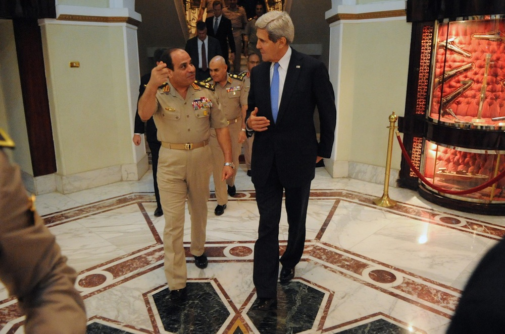 Click photo to download. Caption: Then Egyptian defense minister and now President Abdel-Fattah El-Sisi (left) bids farewell to U.S. Secretary of State John Kerry after a meeting in Cairo, Egypt, on November 3, 2013. Credit: State Department.