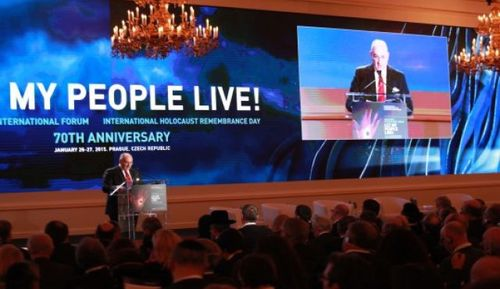 European Jewish Congress president Dr. Moshe Kantor addresses a gathering of European leaders in Prague. Credit: European Jewish Congress.