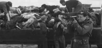 Image from the footage taken by British and Soviet forces liberating concentration camps after the Holocaust. Credit: YouTube screenshot.