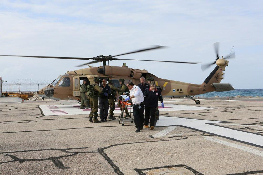 Two Israeli soldiers injured in Wednesday's Hezbollah attack along the Israel-Lebanon border arrive via helicopter at the Rambam Health Care Campus in Haifa. Credit: Provided photo.