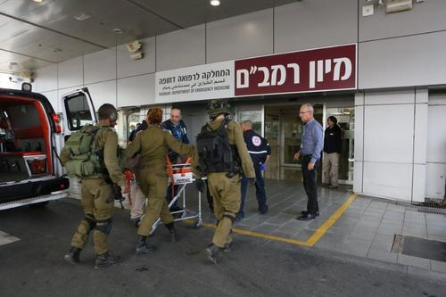 Two Israeli soldiers injured in Wednesday's Hezbollah attack along the Israel-Lebanon border arrive at the Rambam Health Care Campus in Haifa. Credit: Provided photo.