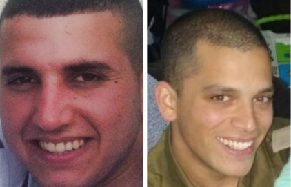 Staff Sgt. Dor Chaim Nini, 20, and Maj. Yochai Kalangel, 25, the two Israeli soldiers killed in Wednesday's Hezbollah attack. Credit: Provided photo.