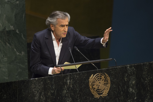 Click photo to download. Caption: On Jan. 22, French philosopher and writer Bernard-Henri Levy addresses the U.N. General Assembly meeting on anti-Semitism. Levy's message–essentially, that anti-Zionism, the denial of the right of national self-determination to the Jewish people, is the principal pillar upon which today's anti-Semitism rests–did not get through to the crowd, writes columnist Ben Cohen. Credit: UN Photo/Eskinder Debebe.