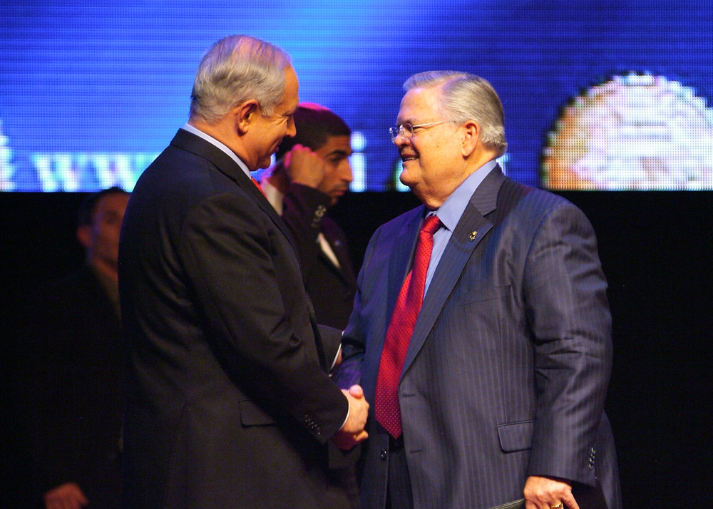 Click photo to download. Caption: Israeli Prime Minister Benjamin Netanyahu (left) and Christians United for Israel (CUFI) founder Pastor John Hagee shake hands in Jerusalem in 2010. Credit: CUFI.