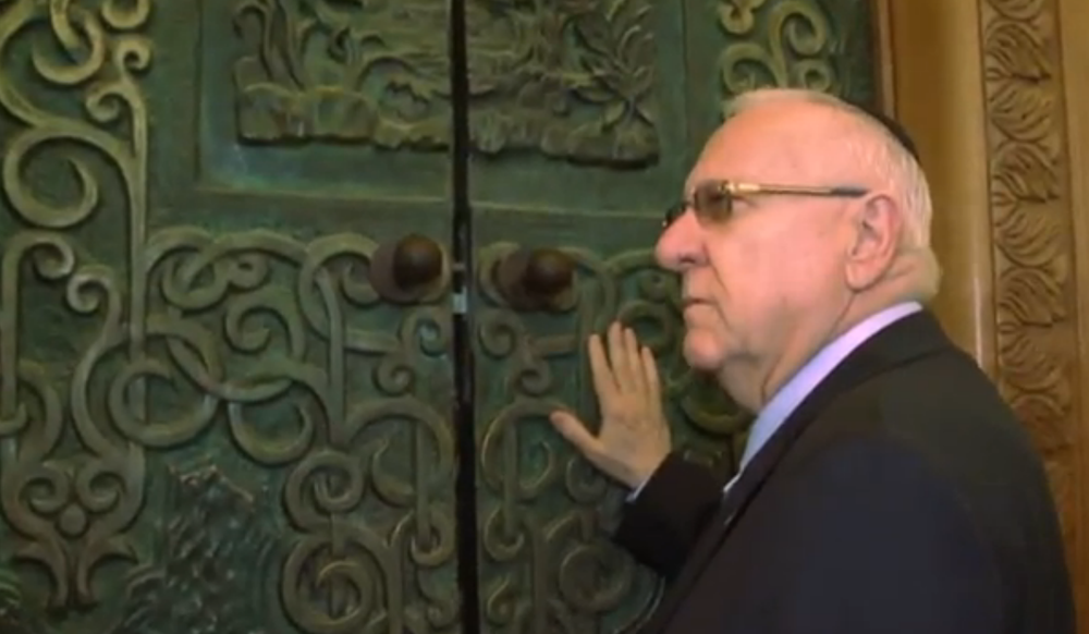 Israeli President Reuven Rivlin visits the Cave of the Patriarchs in Hebron. Credit: Israel Hayom video screenshot.
