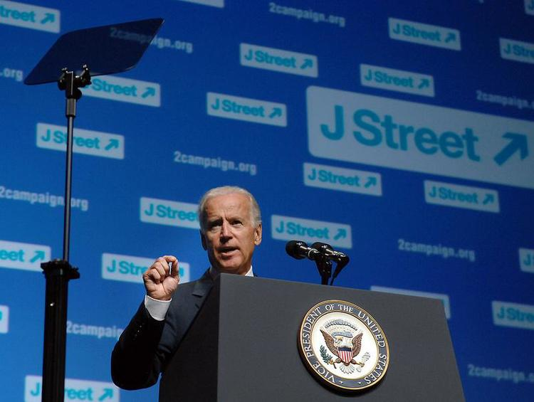 Vice President Joe Biden, pictured addressing the J Street national conference in 2013, may skip Israeli Prime Minister Benjamin Netanyahu's address to Congress on March 3. Credit: J Street via Facebook.