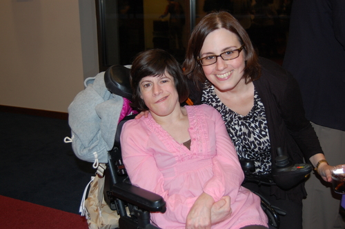 Click photo to download. Caption: A staffer of the Jewish Community Center of Greater Baltimore (an agency ofThe Associated: Jewish Community Federation of Baltimore) with a wheelchair-bound woman. Credit:The Associated: Jewish Community Federation of Baltimore.