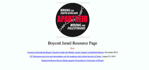 "Prof. David Klein's ""Boycott Israel Resource Page."" Credit: Screenshot."