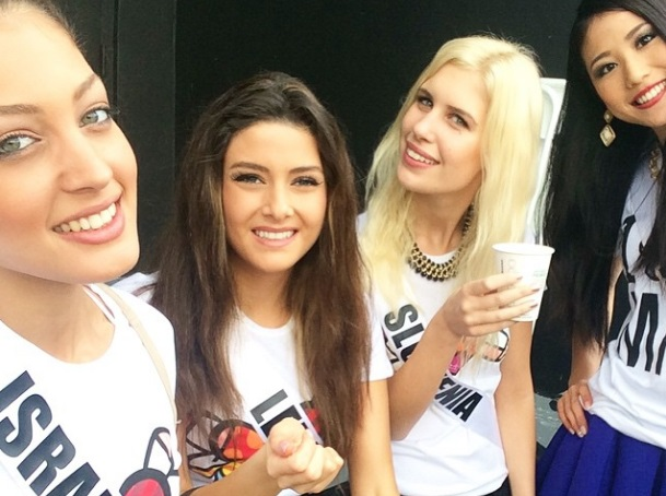 Click photo to download. Caption: The photo posted on Instagram by Miss Israel (far left), in which Miss Lebanon (second from left) also appears. Credit: Instagram.