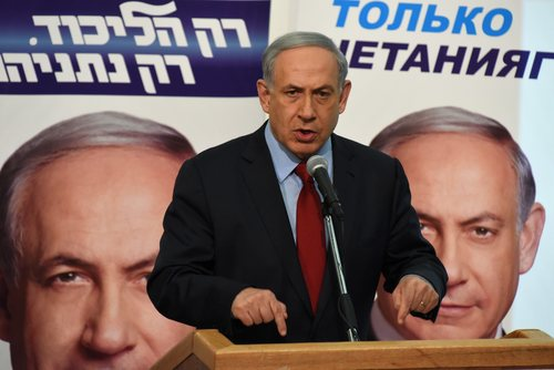 Click photo to download. Caption: Israeli Prime Minister Benjamin Netanyahu addresses voters from the Russian-speaking community on Monday, Feb. 9. Credit: Gili Yaari/Flash90.