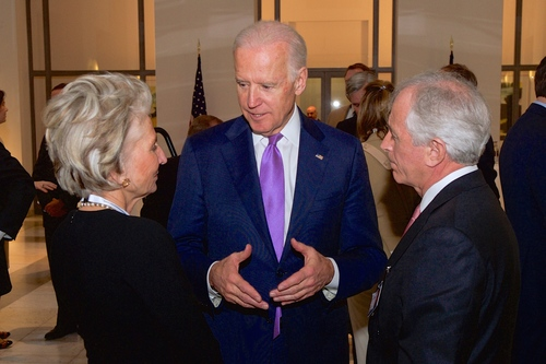 Click photo to download. Caption: Vice President Joe Biden (center), pictured here at the Munich Security Conference on Feb. 7, will skip Prime Minister Benjamin Netanyahu's upcoming speech to Congress. Credit: State Department.
