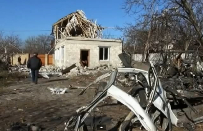 This photo from November 2014 shows shelling damage in a Donetsk suburb resulting from the fighting between Ukrainian authorities and pro-Russian rebel forces. Credit: YouTube screenshot via Wikimedia Commons.
