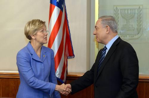 Click photo to download.Caption: U.S. Sen. Elizabeth Warren (D-Mass.) meets with Israeli Prime Minister Benjamin Netanyahu in Jerusalem on Nov. 24, 2014. Credit: Haim Zach/GPO/Flash90.