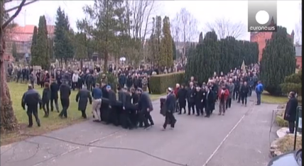 The funeral for Jewish security Dan Uzan was held at a Jewish cemetery in Copenhagen on Wednesday. Credit: Screenshot from Euronews via YouTube.