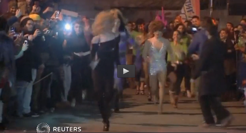 Jerusalem held its first LGBT drag queen race this week. Credit: Screenshot from Reuters video.