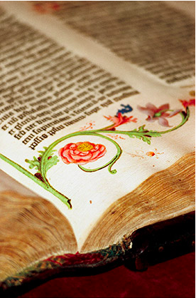 Reds, pinks, and greens of the illustrations run alongside the text in the Gutenberg Bible, the first printed bible, which was produced in Mainz, Germany, in 1455. Credit: Natasha D'Schommer via Princeton University.