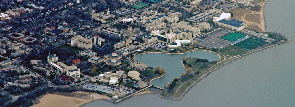 An aerial view of the Northwestern University campus. Credit: Wikimedia Commons.