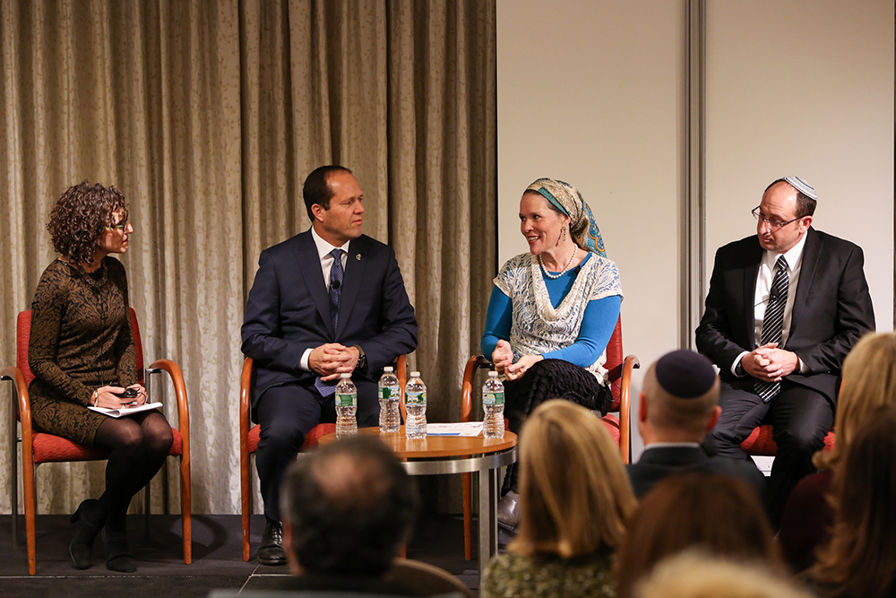 Click photo to download. Caption: From left to right,  he   Forward  newspaper Editor-in-Chief Jane Eisner, Jerusalem Mayor Nir Barkat, Racheli Frenkel (mother of murdered Israeli teenager Naftali Frenkel), and Ofir Shaar (father of murdered Israeli teenager Gilad Shaar) at a recent event hosted by the UJA-Federation of New York. The event celebrated the launching of the Jerusalem Unity Prize, which was established by the families of the three Israeli teens murdered by Hamas last summer, the Jerusalem municipality, and the Jerusalem-based organization Gesher. Credit:  UJA-Federation of New York.