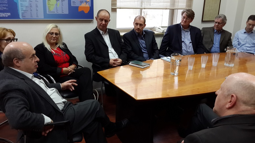 Jewish Agency Chairman Natan Sharansky meets with representatives of The Jewish Agency's Christian partners at the organization's headquarters in Jerusalem, February 25, 2015. Photo credit: Yigal Palmor for The Jewish Agency for Israel.