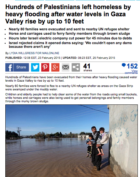 The Daily Mail story on Gaza flooding. Credit: Screenshot.
