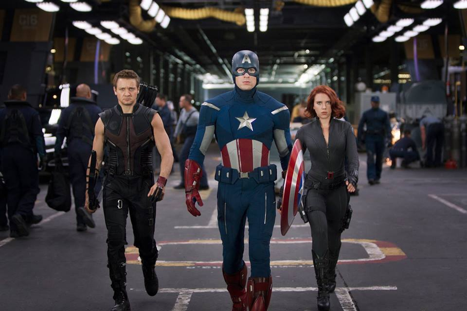 "Click photo to download. Caption: ""Captain America,"" pictured here in center among other characters in the forthcoming film ""Avengers: Age of Ultron,"" was co-created by Jewish comic artist Jack Kirby. Credit: Marvel Studios."
