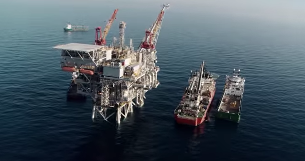 A gas rig off Israel's coast. Credit: YouTube screenshot.