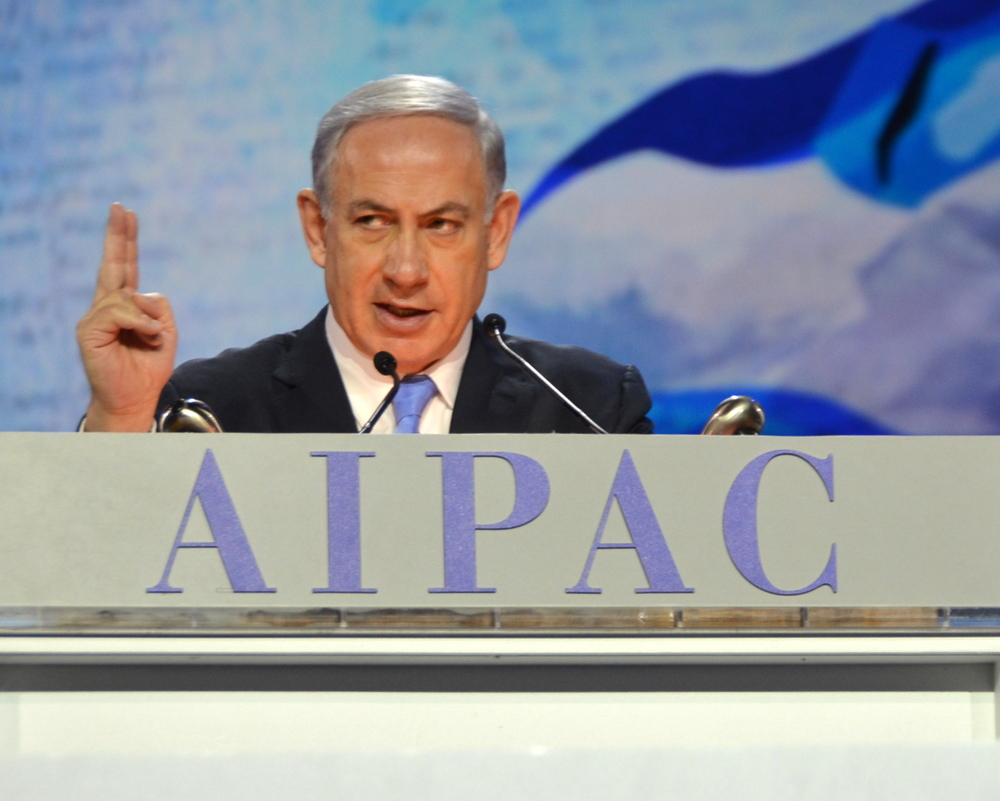 Click photo to download. Caption: Israeli Prime Minister Benjamin Netanyahu addresses the 2015 American Israel Public Affairs Committee (AIPAC) conference on March 2. Credit: Maxine Dovere.