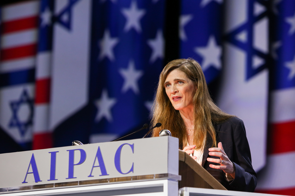 United States Ambassador to the United Nations Samantha Power addresses the AIPAC conference on Monday. Credit: AIPAC.