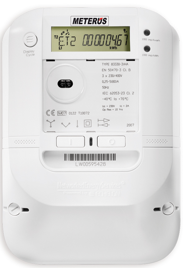 A smart meter like the one pictured would be able to run for 10 years connected to a 4G network if equipped with a new chip set from Israeli company Altair Semiconductor. Credit: Wikimedia Commons.
