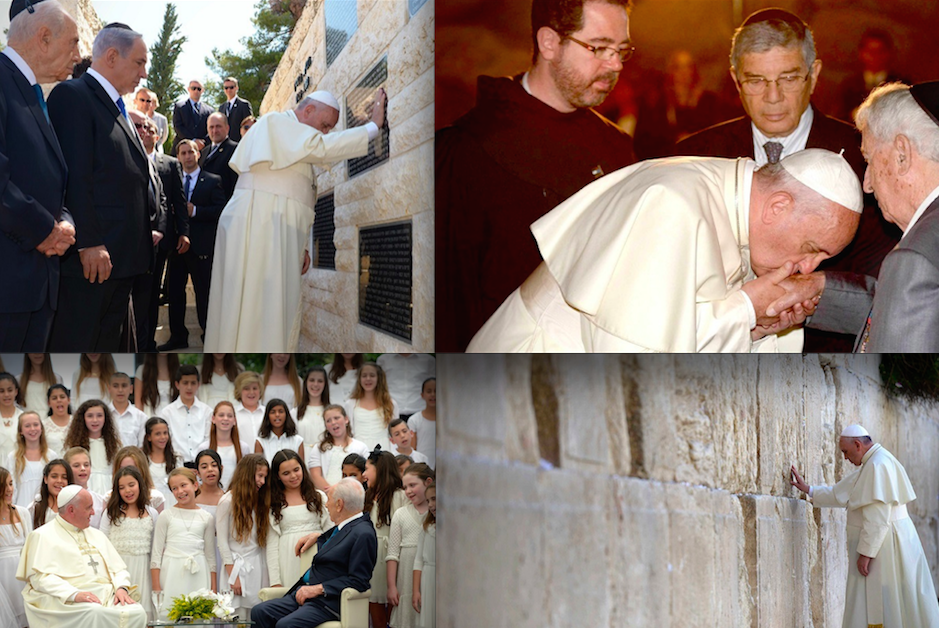 Click photo to download. Caption: Four photos from a Texas-based exhibit on Pope Francis's 2014 visit to Israel. Top row: left, Pope Francis visits a memorial to victims of terrorism at Mount Herzl; right, the pope kisses the hand of a Holocaust survivor at the Yad Vashem museum. Bottom row: left, Pope Francis and then Israeli president Shimon Peres listen to a performance by a children's choir; right, the pope visits the Western Wall. Credit: Israeli Ministry of Foreign Affairs.