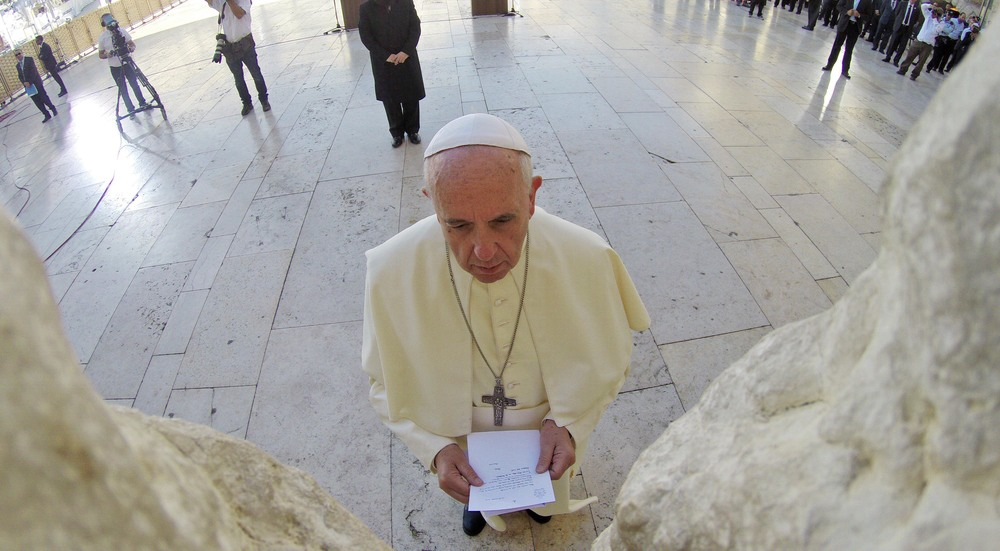 Click photo to download. Caption: Elia Norton, a Jewish student at St. Edward's University in Austin, Texas, cites a bird's-eye view of Pope Francis praying at the Western Wall (pictured here) as one of the lasting images from the pope's 2014 visit to Israel. Credit: Kobi Gideon/GPO/Flash90.