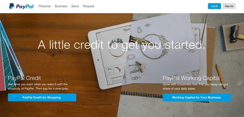 The PayPal website. Credit: Screenshot.