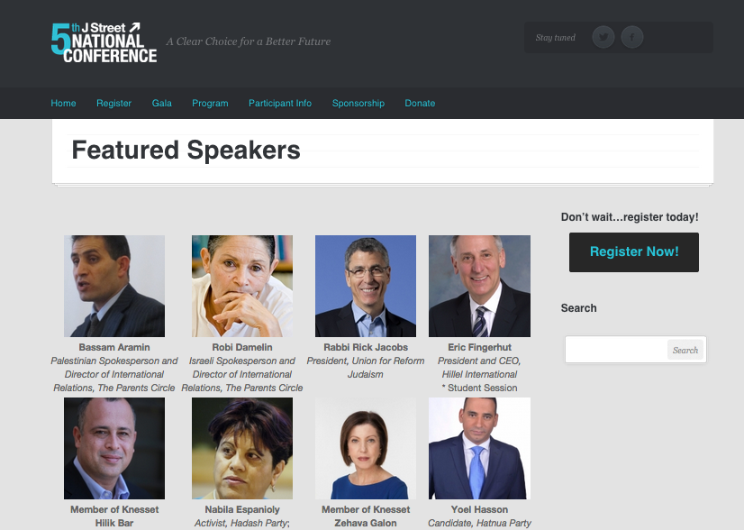 The list of speakers in the upcoming J Street national conference, which still includes Hillel International CEO Eric Fingerhut (top row of headshots, far right). Credit: Screenshot from Jstreet.org.