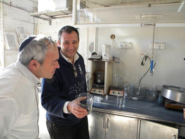Click photo to download. Caption: Baruch Sterman (left) and Joel Guberman, two founders of thePtil Tekhelet non-profit, at the tekheletfactory inKfar Adumim, Israel. Credit:Ptil Tekhelet.