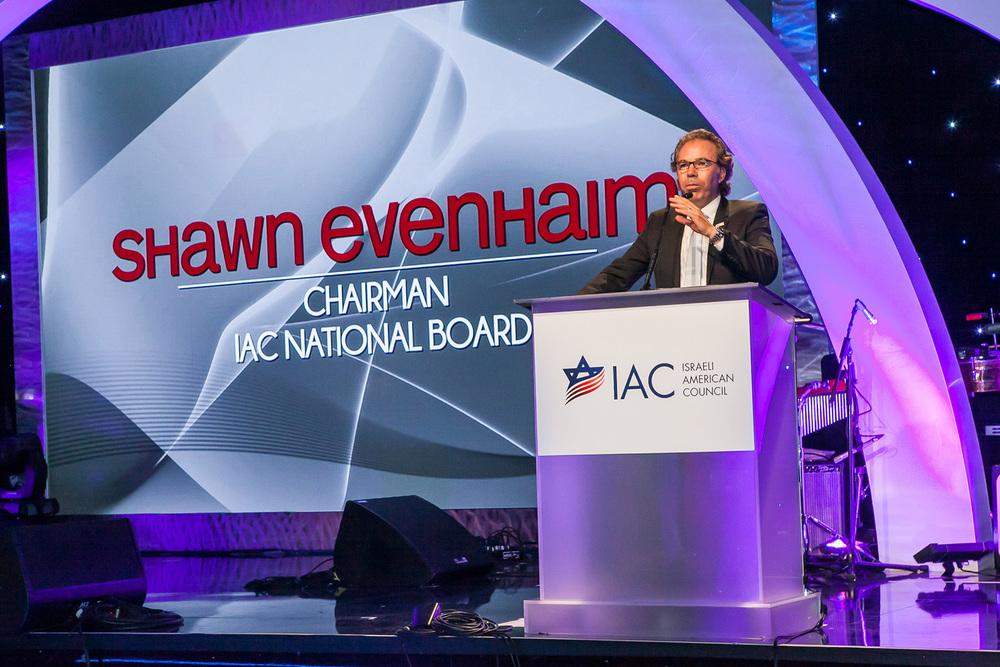 Israeli-American Council (IAC) National Chairman Shawn Evenhaim speaks at the IAC gala in Los Angeles. Credit: Rani Sikolski.