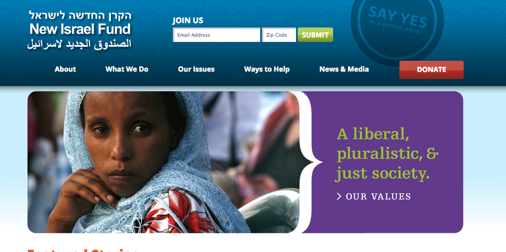 The homepage of the New Israel Fund website. Credit: Nif.org screenshot.