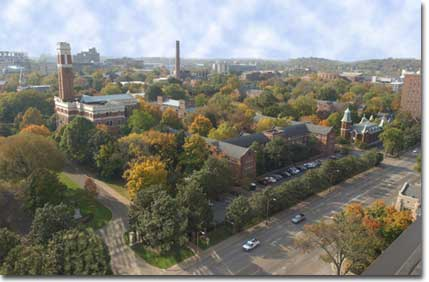An aerial view of the Vanderbilt University campus. Credit: Wikimedia Commons.