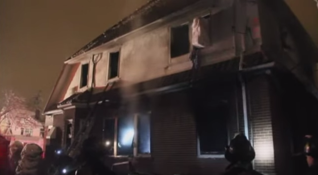 The March 21 fire at the Sassoon family home in Brooklyn. Credit: YouTube.