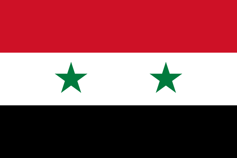 The flag of Syria. Credit: Wikimedia Commons.