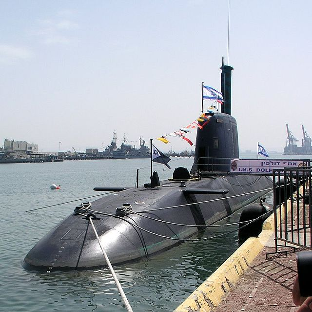 A Dolphin-class submarine docked in Israel. Credit: Wikimedia Commons.