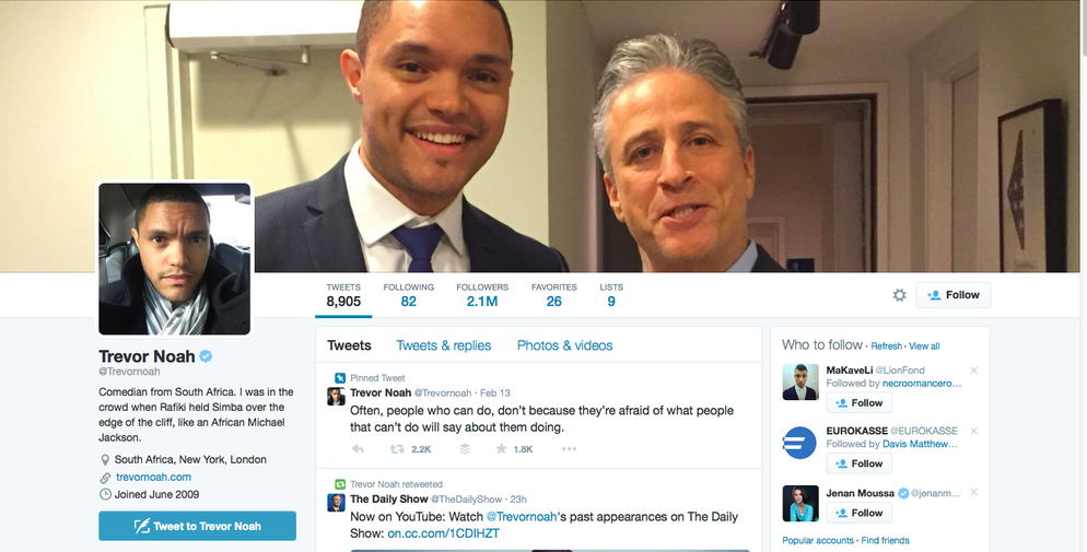 "Trevor Noah's Twitter page with an image of the new host of ""The Daily Show"" and outgoing host Jon Stewart. Credit: Screenshot from Twitter."