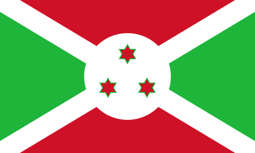 The flag of Burundi. Credit: Wikimedia Commons.