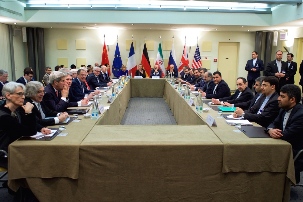 Click photo to download. Caption: Foreign ministers and other officials from the P5+1 countries, the European Union, and Iran—including John Kerry of the United States, Philip Hammond of the United Kingdom, Sergey Lavrov of Russia, Frank-Walter Steinmeier of Germany, Laurent Fabius of France, Wang Yi of China, Federica Mogherini of the EU, and Javad Zarif of Iran—are pictured in Lausanne, Switzerland, on March 30, 2015, amid multilateral negotiations with Iran about the future of its nuclear program. Credit: United States Department of State.