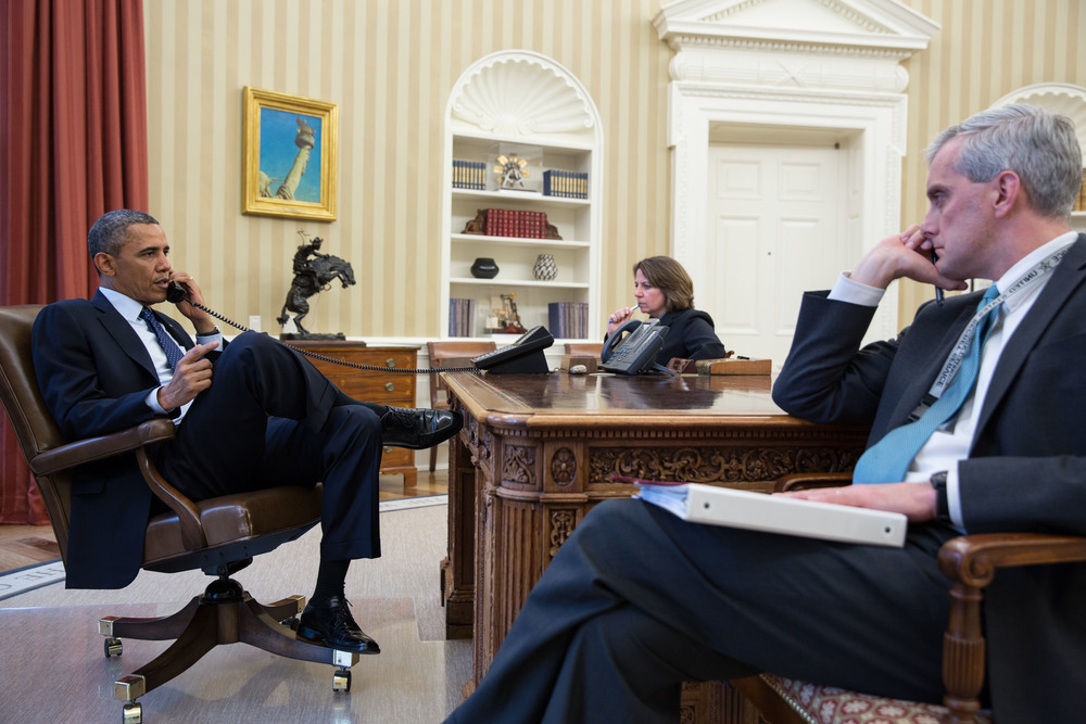 Click photo to download. Caption: President Barack Obama (left) and his chief of staff, Denis McDonough (right), in the Oval Office in April 2013. Credit: Pete Souza/White House.