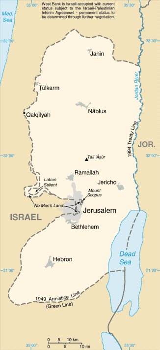 Israeli authorities fear that an Israeli man has been kidnapped by Palestinians in the southern Judea region of the West Bank (illustrated in this map). Credit: The United States Central Intelligence Agency's World Factbook via Wikimedia Commons.