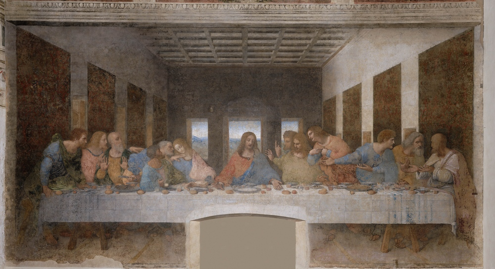 Jesus's last supper, here portrayed in the famous painting by Leonard Da Vinci, is widely considered to have been an early version of a Passover Seder. Credit: Wikimedia Commons.